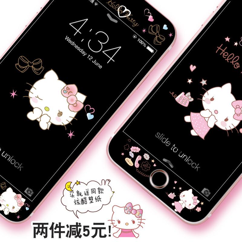 苹果6plus黑色钢化膜iphone8彩膜全屏手机膜7plus可爱