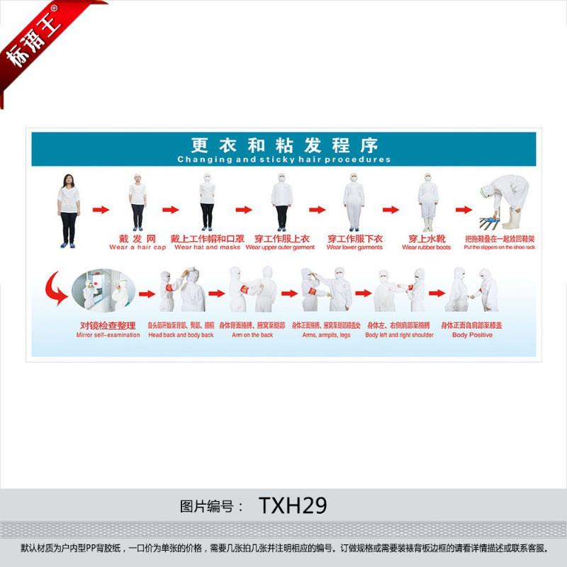 穿工作服步骤示意图衣容着装规范更衣和粘发程序宣传画贴纸txh29