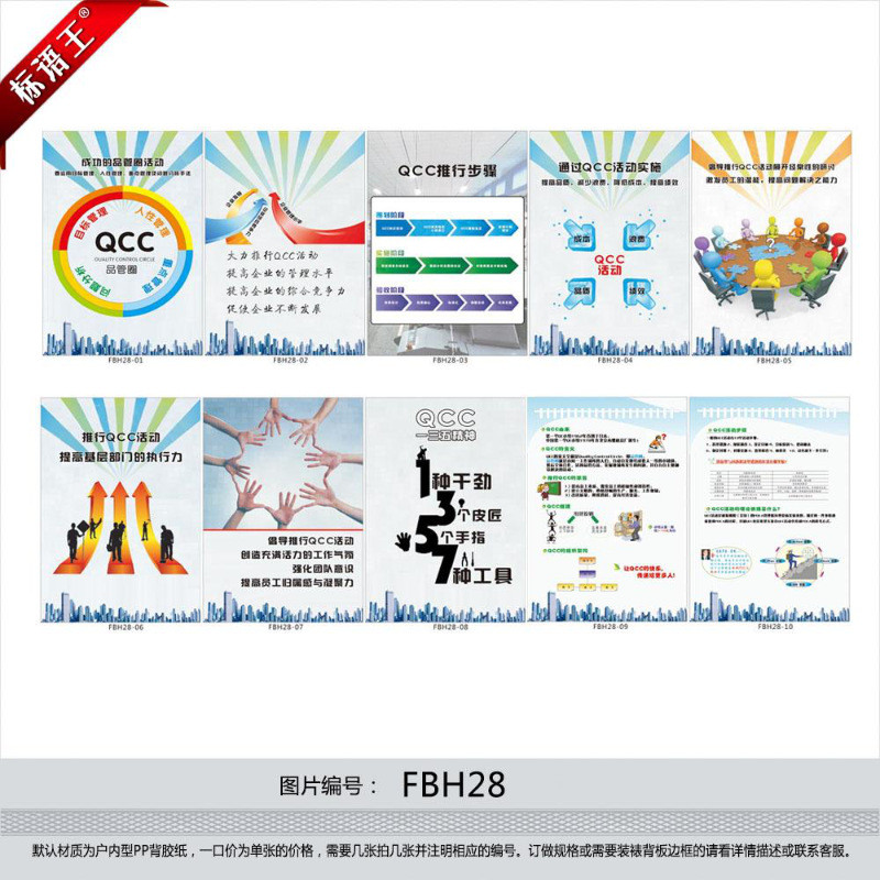 质量挂图宣传画,品质改善海报品管圈活动qcc活动贴画fbh28