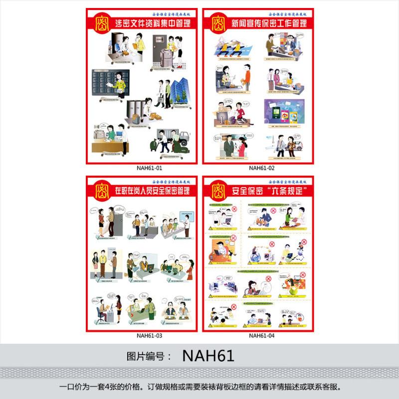 保密宣传漫画宣传画展板挂图海报保密工作管理贴画套图nah61