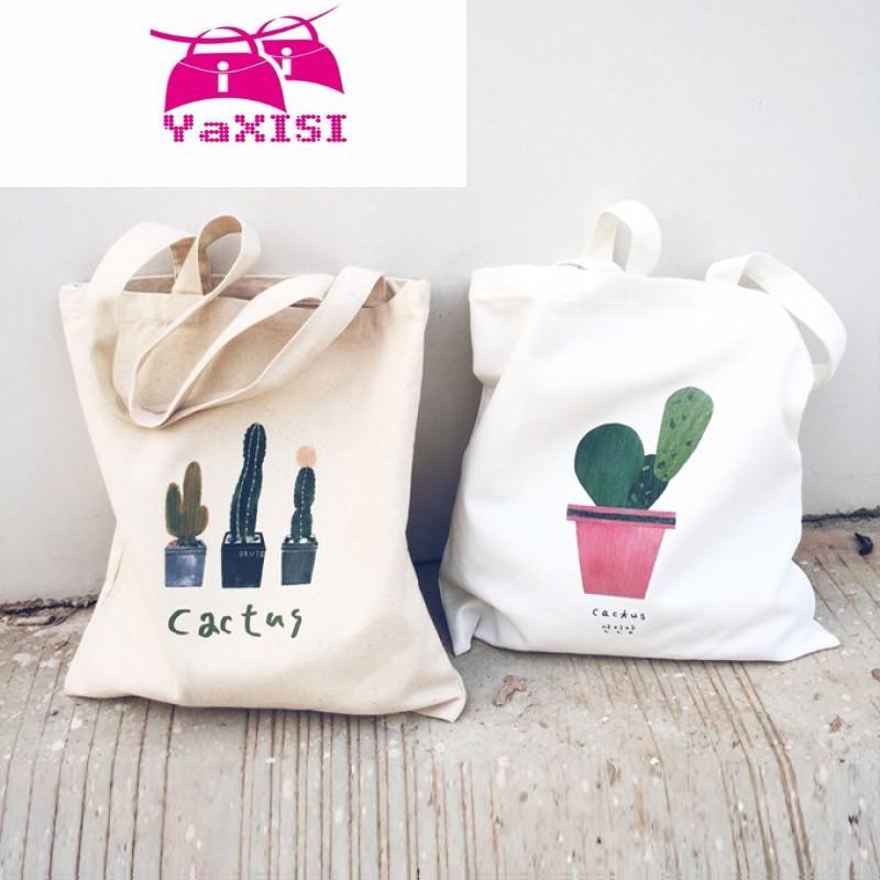 yasixi手绘帆布包袋拉链单肩学生两用手提购物袋日韩森女文艺清新帆布