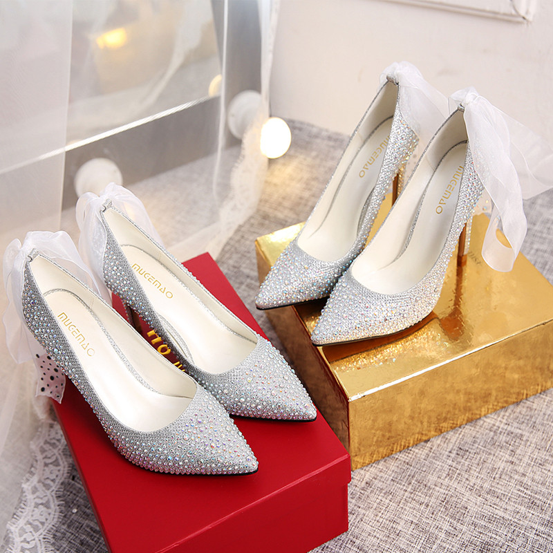 清仓水晶高跟鞋女秋2017新款银色细跟尖头单鞋性感婚鞋新娘鞋10cm