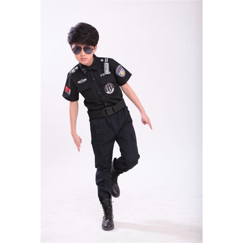 男童特种兵套装黑色儿童特警衣服装备短袖警察小交警演出服