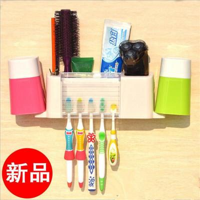 古達 創意洗漱套裝吸盤式牙刷架掛架刷牙杯漱口杯架牙膏架牙具盒牙具座 不帶杯子