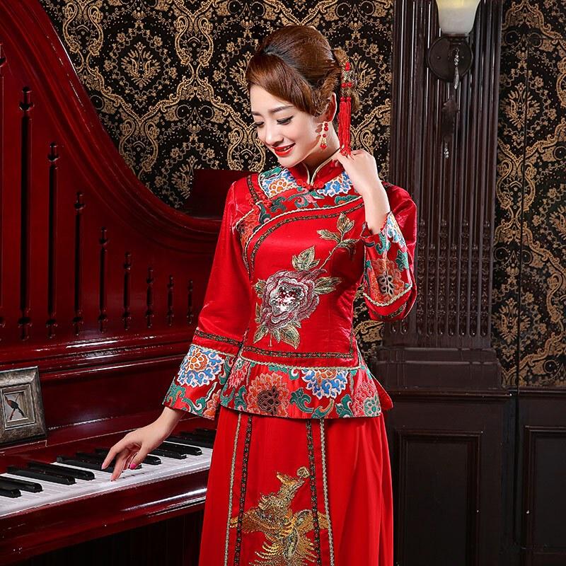 斯妍新娘结婚礼服唐装唐服古装造型复古女装影楼服装中式民族旗袍秀禾
