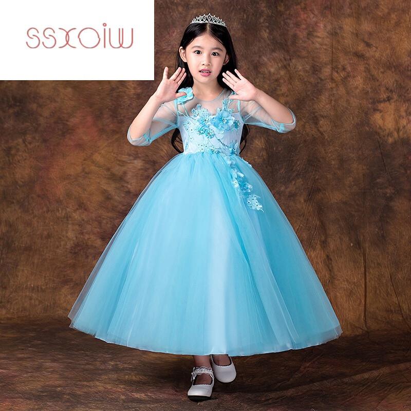 ssxoiw儿童礼服长裙走秀晚礼服公主裙女童钢琴演出服花童婚纱蓬蓬裙春图片