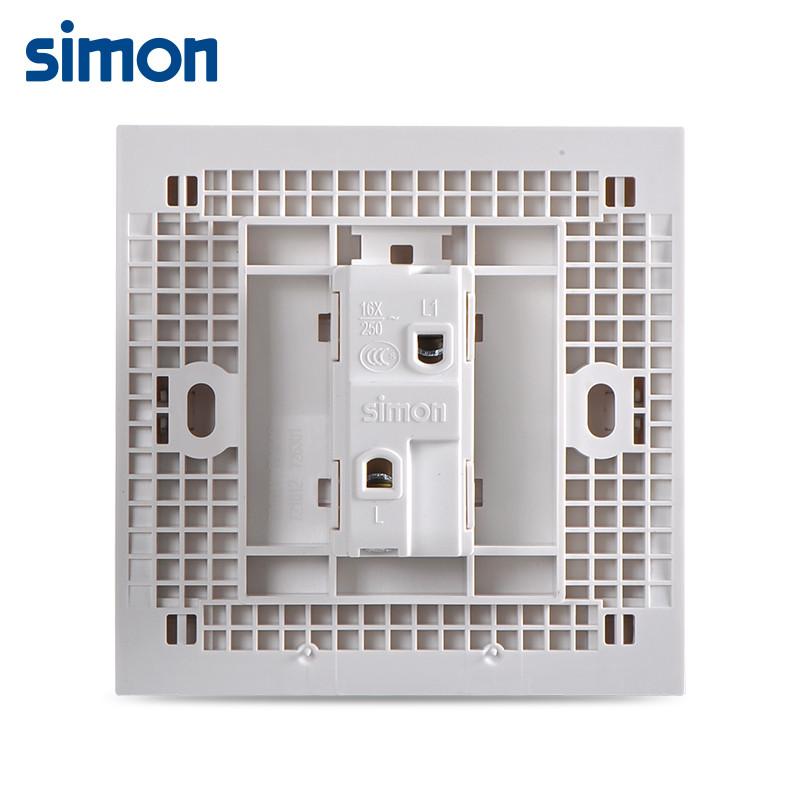 西蒙开关插座面板86型 e6一开单控雅白色 电源灯墙壁单开按钮721011