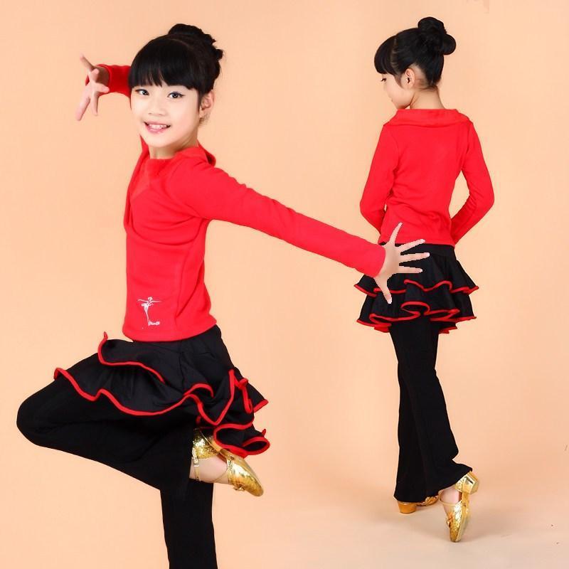 儿童舞蹈服装秋春拉丁舞服装女童长袖演出服装练功服新款加绒加厚