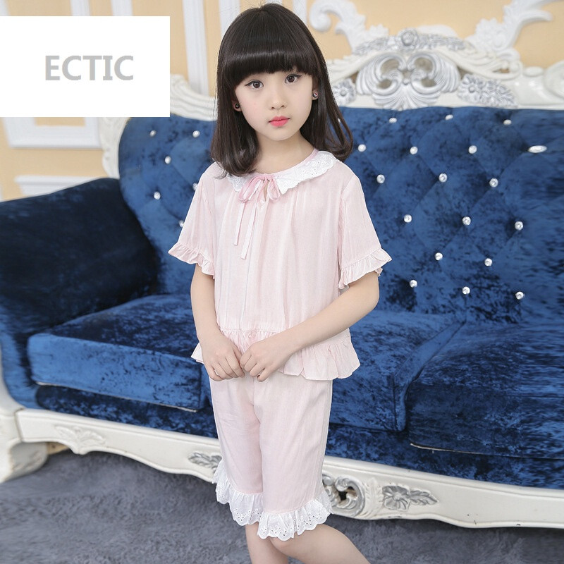 ECTIC2017休闲童套装新女童夏装睡衣中大儿