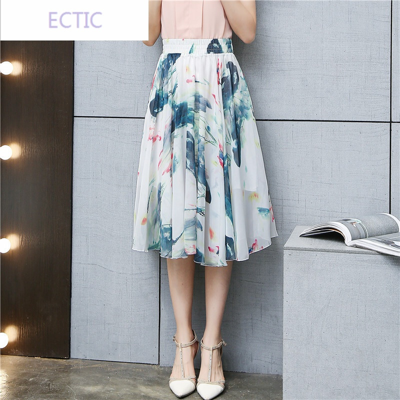 ectic2017夏季新款雪纺半身裙中长款女a字印花大摆仙女裙显瘦沙滩裙子图片