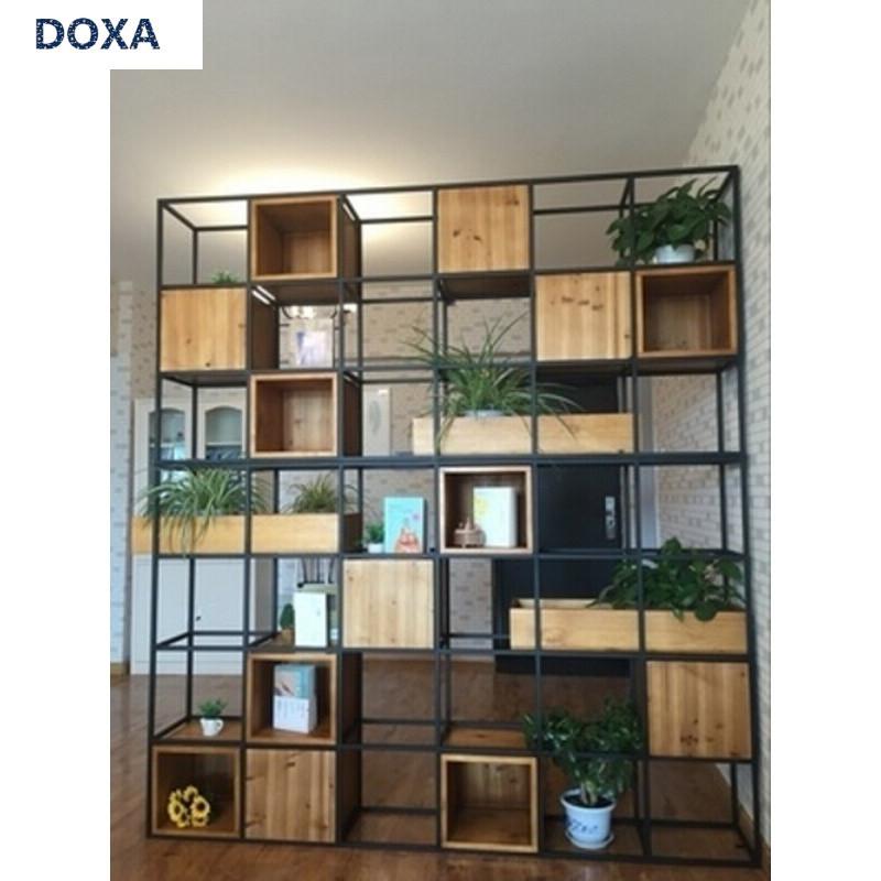 doxa美式loft工业风客厅书架复古书柜铁艺隔搁板置物架实木隔断展示架