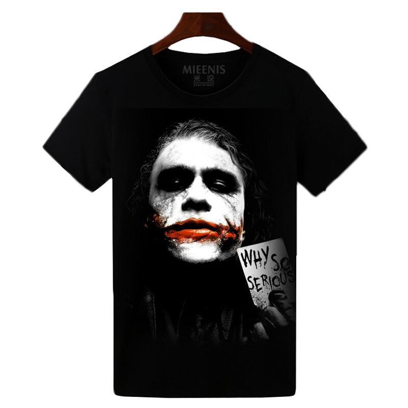 蝙蝠侠小丑衣服男士纯棉纯色圆领短袖小丑t恤个性男女