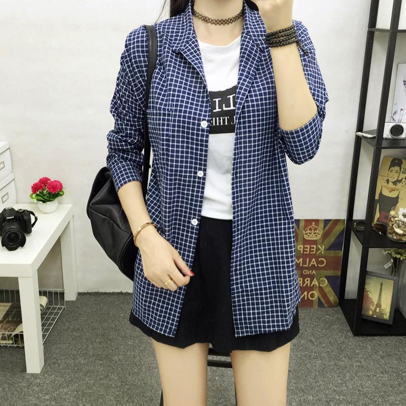 特价格子衬衫女长袖夏季新款韩版休闲宽松学生