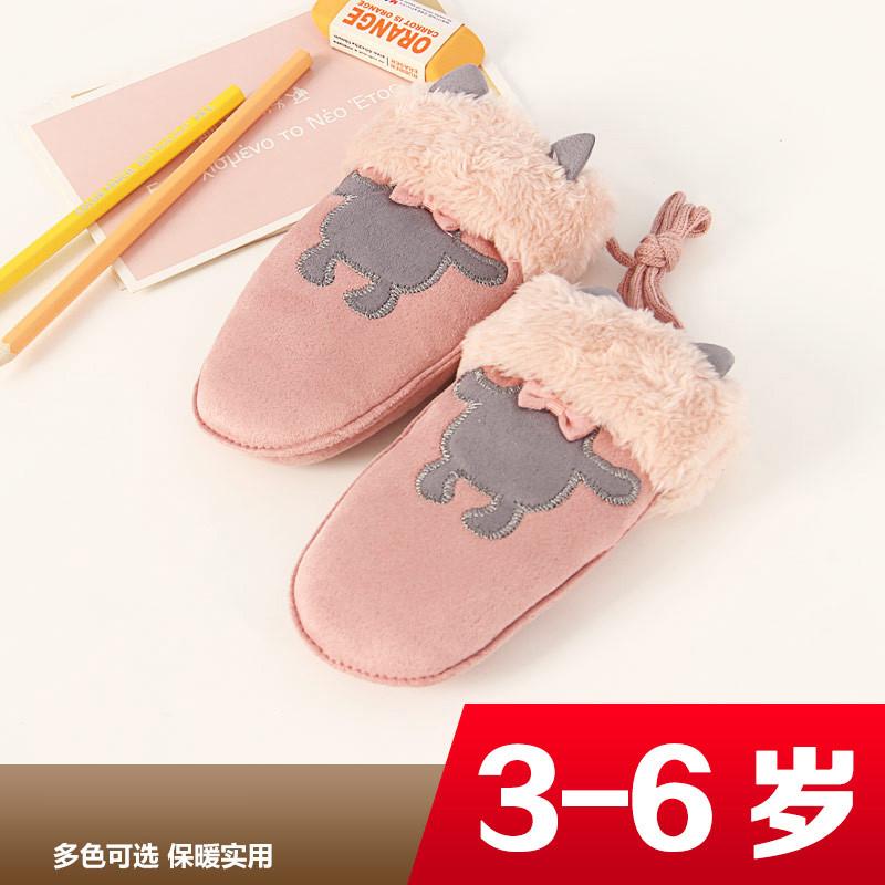 特价冬季手袜儿童保暖加厚挂脖手套可爱学生全指时尚女孩子毛绒包指头