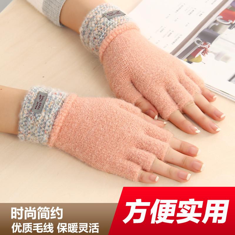 特价冬天半指分指手袜毛线针织手套女学生可爱加厚保暖写字露指头半截