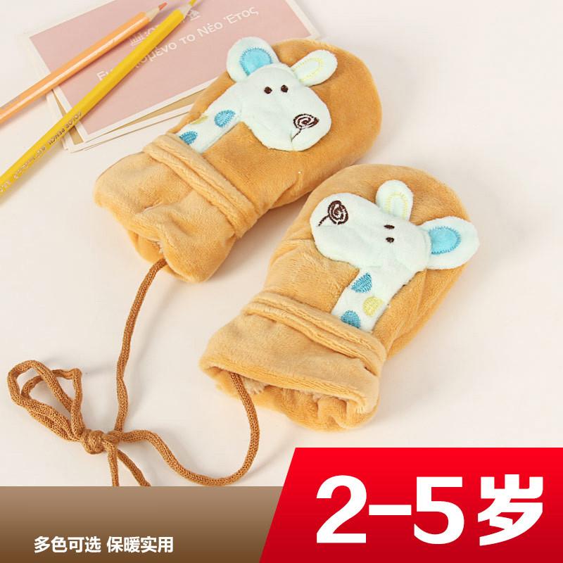 特价小孩子冬季防风冻保暖手套加厚手袜宝宝儿童款毛绒男女孩可爱卡通