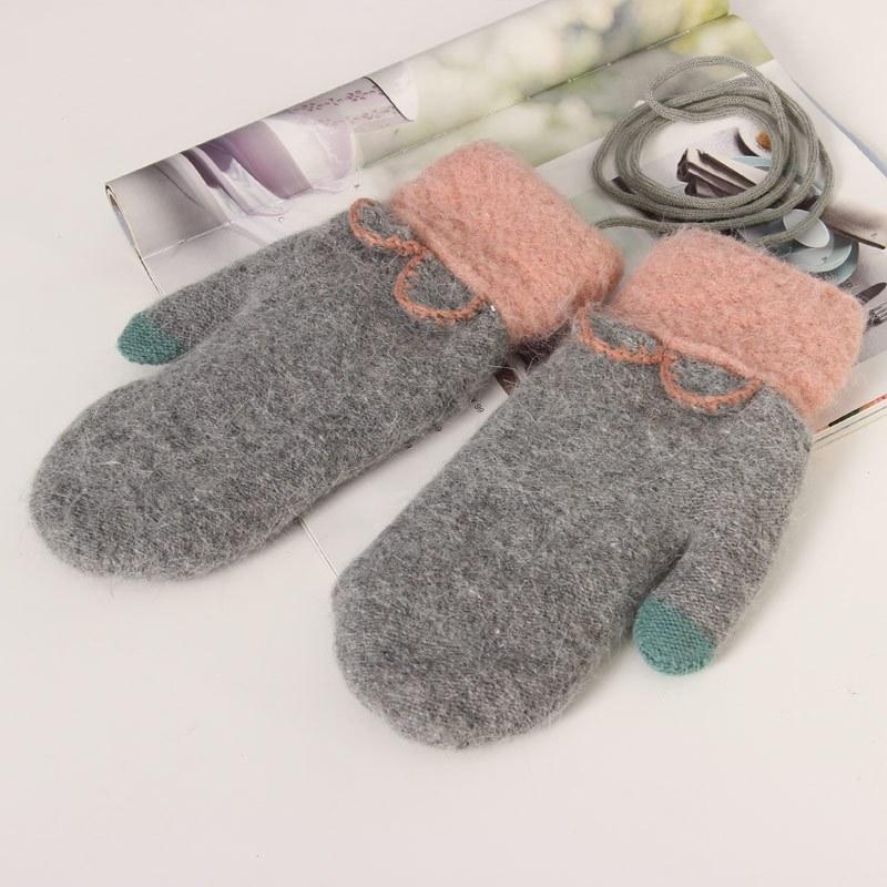 特价手袜女冬天户外保暖全指手套毛线可爱时尚包指头挂脖加厚毛绒学生