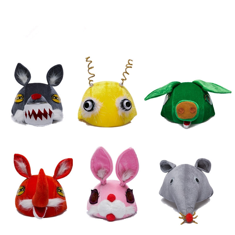 特价儿童动物帽子舞台表演卡通头饰小猪大灰狼粉兔子狐狸帽子玩具道具