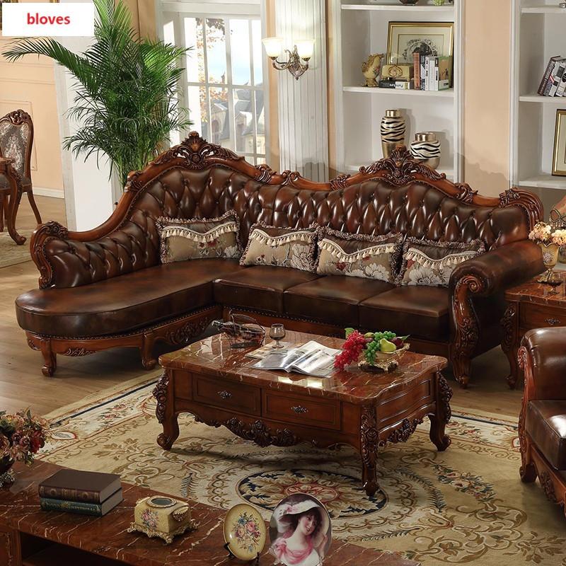 bloves- 欧式转角实木雕花真皮沙发 客厅高档美式沙发