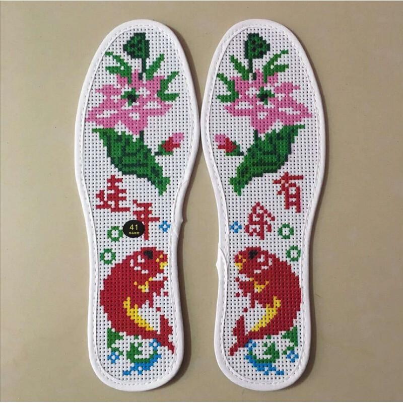 纯手工字绣鞋垫子的十字绣鞋垫半成品带线纯棉的吸汗防臭刺绣鞋垫