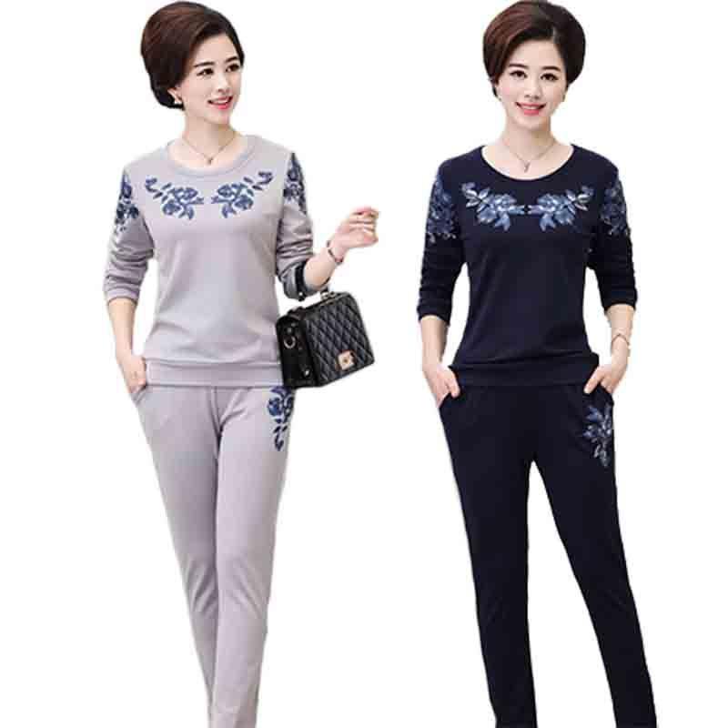 qma新款中老年女装秋装套装40-50岁长袖上衣运动服两件套大码妈妈装图片