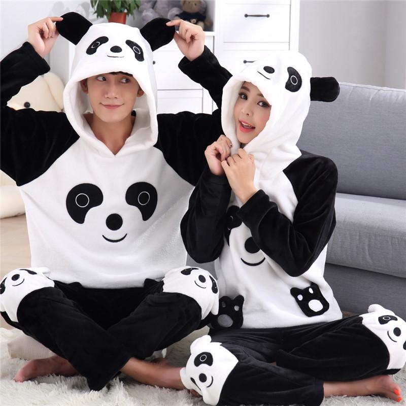 bw9新款秋冬季情侣睡衣加厚珊瑚绒可爱卡通带帽女款长袖男熊猫家居服