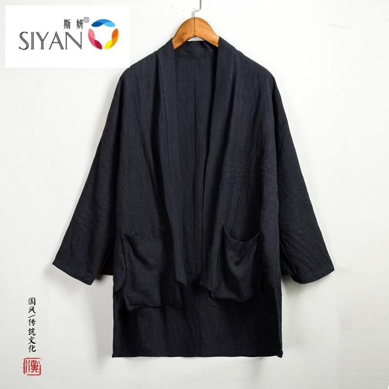 斯妍新款中國風男裝亞麻男士漢服外套居士禪服披肩中式漢服改良唐裝名圖片