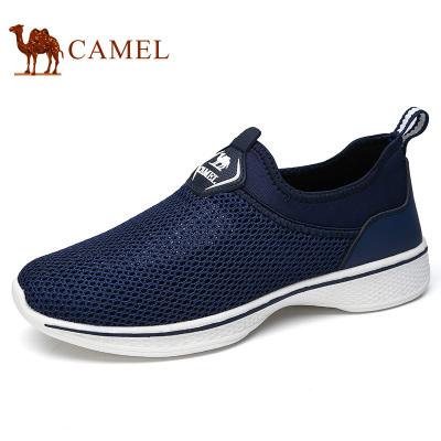 Camel駱駝男鞋 輕盈緩震時尚健步慢跑鞋時尚春夏戶外休閑透氣網鞋