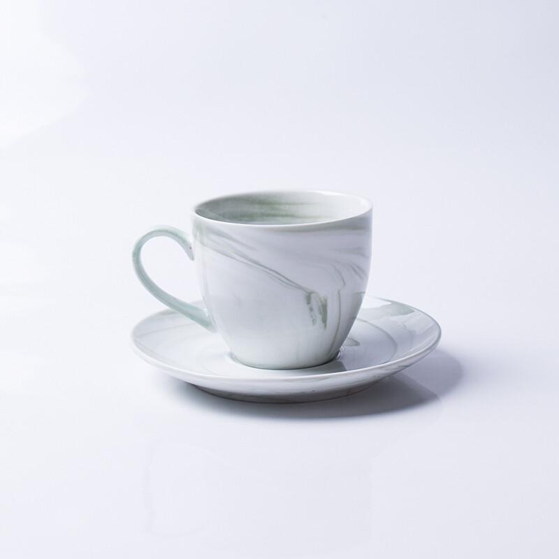 大理石纹创意陶瓷水杯彩色马克杯情侣杯咖啡杯碟套装c