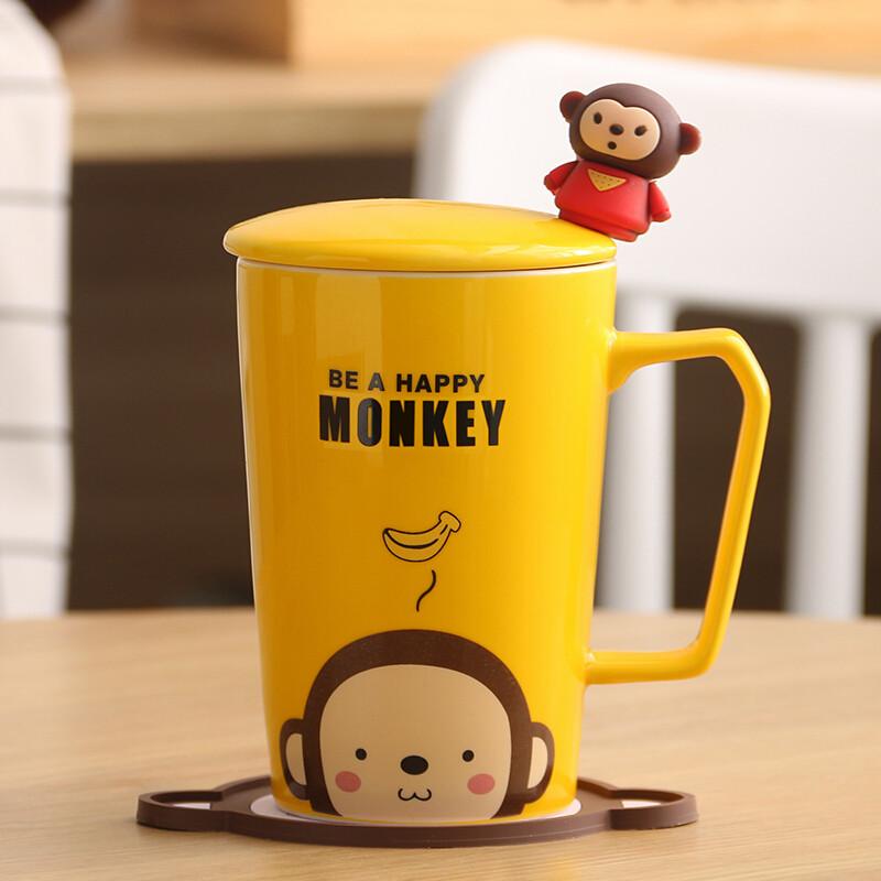 创意猫咪杯子陶瓷杯马克杯卡通情侣杯牛奶杯咖啡杯茶杯水杯带盖勺c