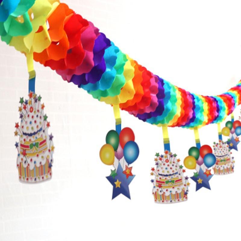 卡通拉花生日派对装饰幼儿园动物拉花彩旗条彩带儿童节日用品布置a