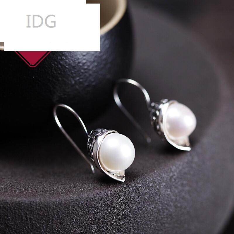 idg925银饰品复古泰银镶嵌贝珠珍珠耳环耳坠耳饰女士叶子气质