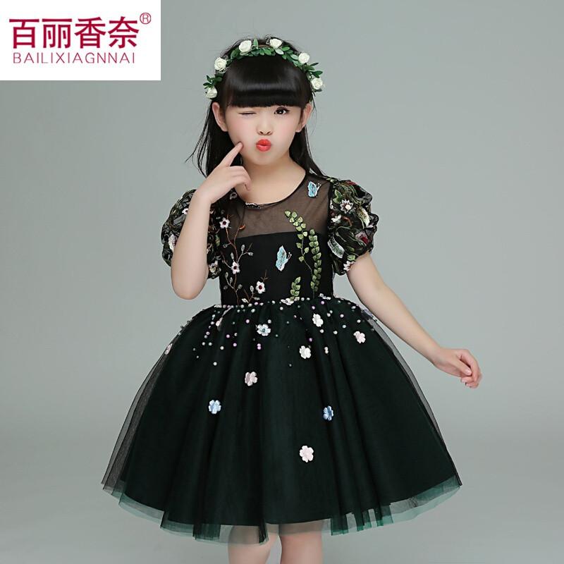 女童公主裙春装2017新款儿童礼服演出黑周岁聚会衣服女生日连衣裙黑色