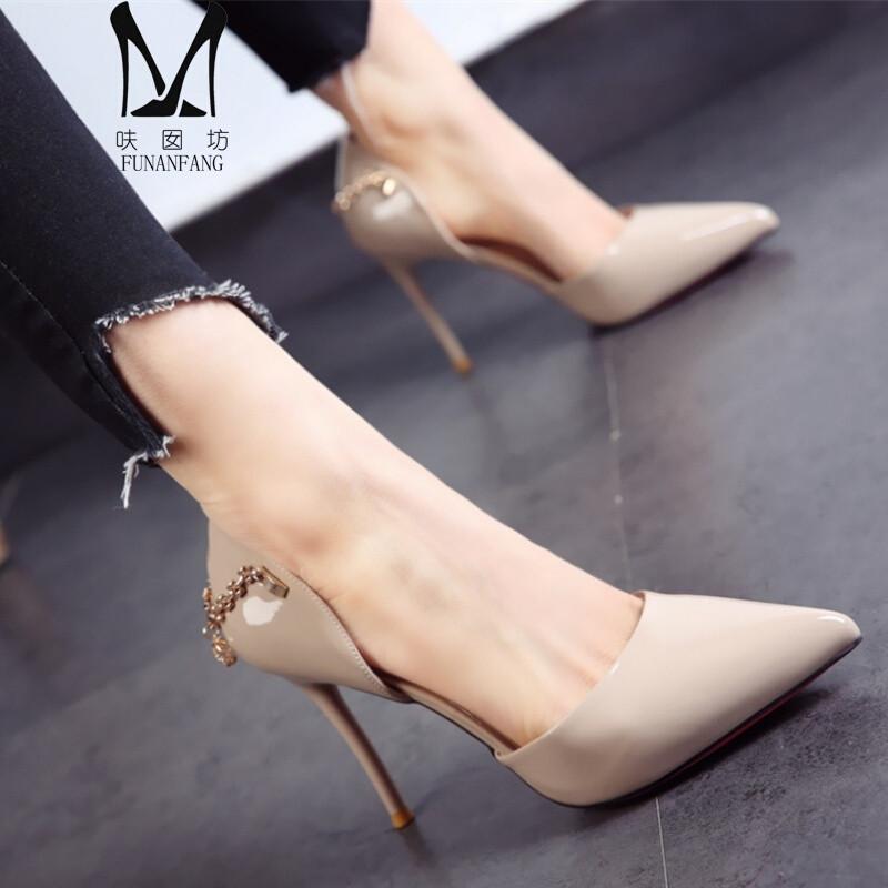 呋囡坊(funanfang)2017春季新款欧美尖头鞋漆皮细跟高跟鞋后跟金属