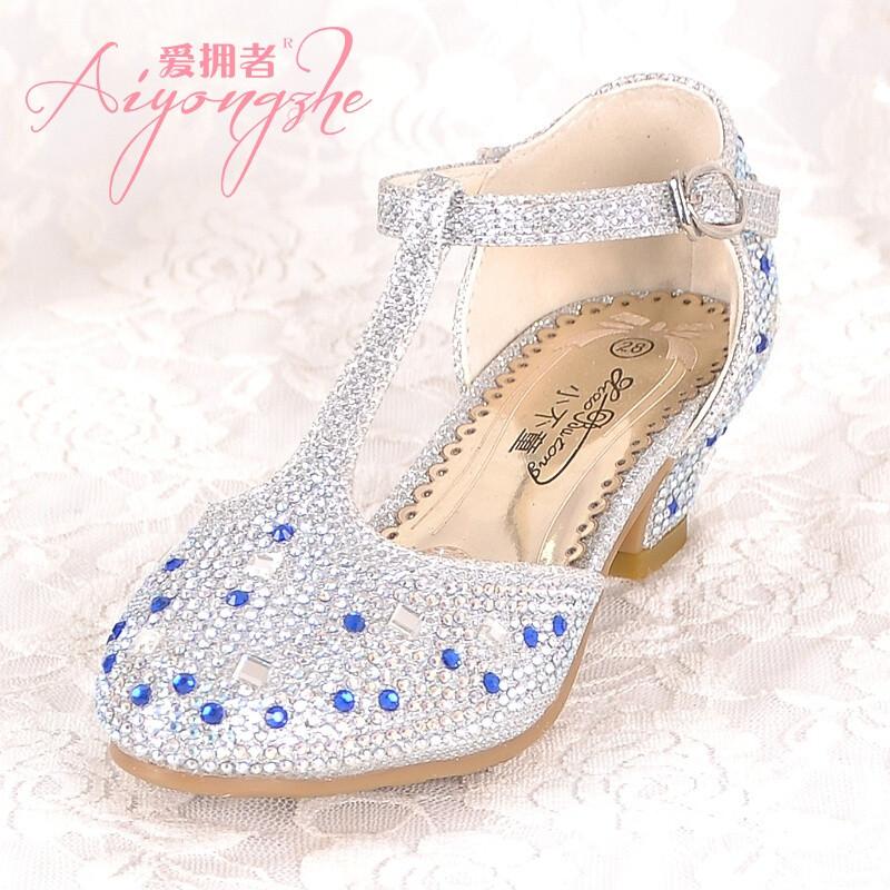 爱拥者儿童灰姑娘水晶鞋公主高跟鞋春秋女童公主鞋单鞋夏皮鞋水钻表演