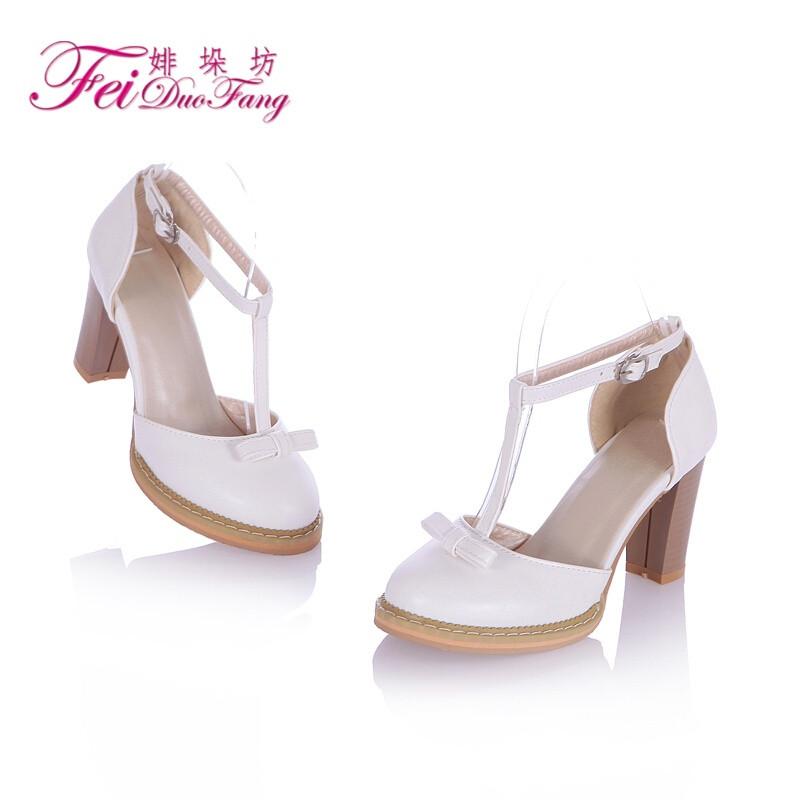 夏季日系气质甜美女生鞋可爱蝴蝶结时尚舒适小圆头粗跟优雅高跟鞋简约