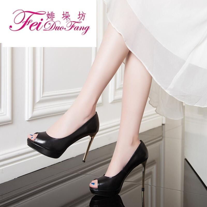 (bailixiangnai)17年春秋新款女鞋欧美细跟高跟鞋真皮