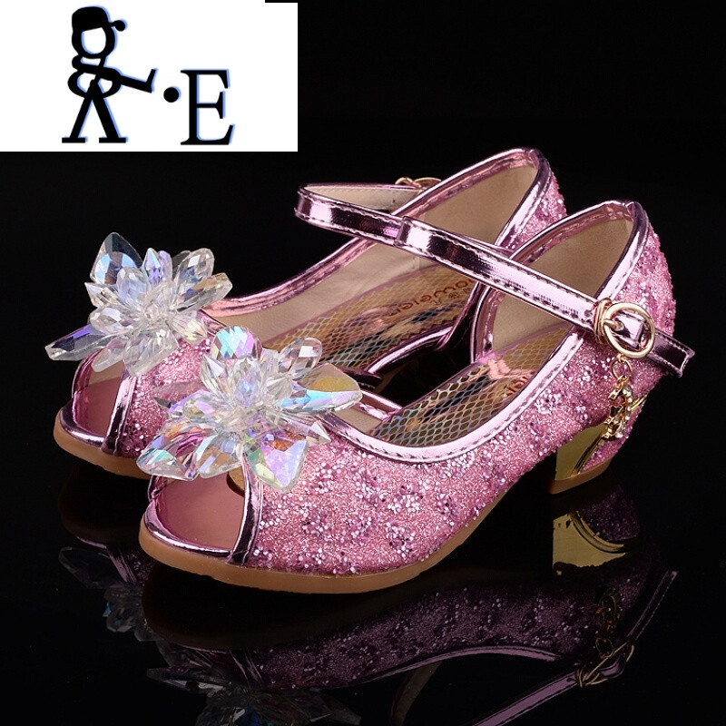 唯帝歌 新款2017夏季新款女童高跟凉鞋儿童水晶鞋灰姑娘公主水钻小孩
