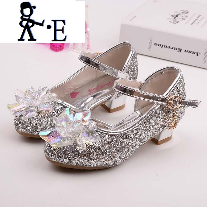 唯帝歌 新款新款儿童水晶鞋公主高跟鞋春秋女童公主鞋