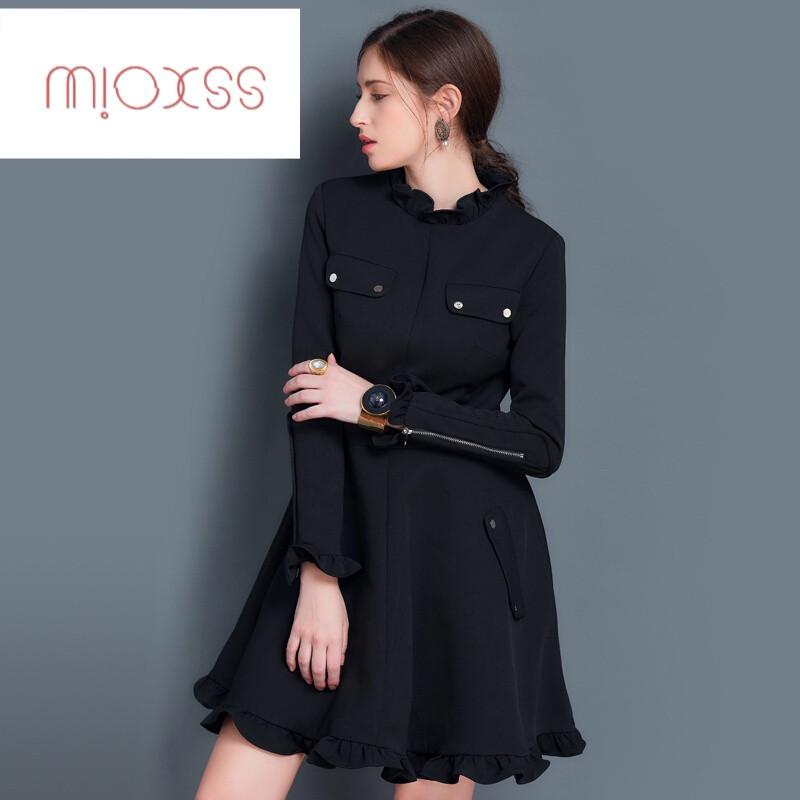 ssxoiw欧美女装2017秋装新款荷叶边黑色连衣裙秋冬季修身小黑裙加厚款