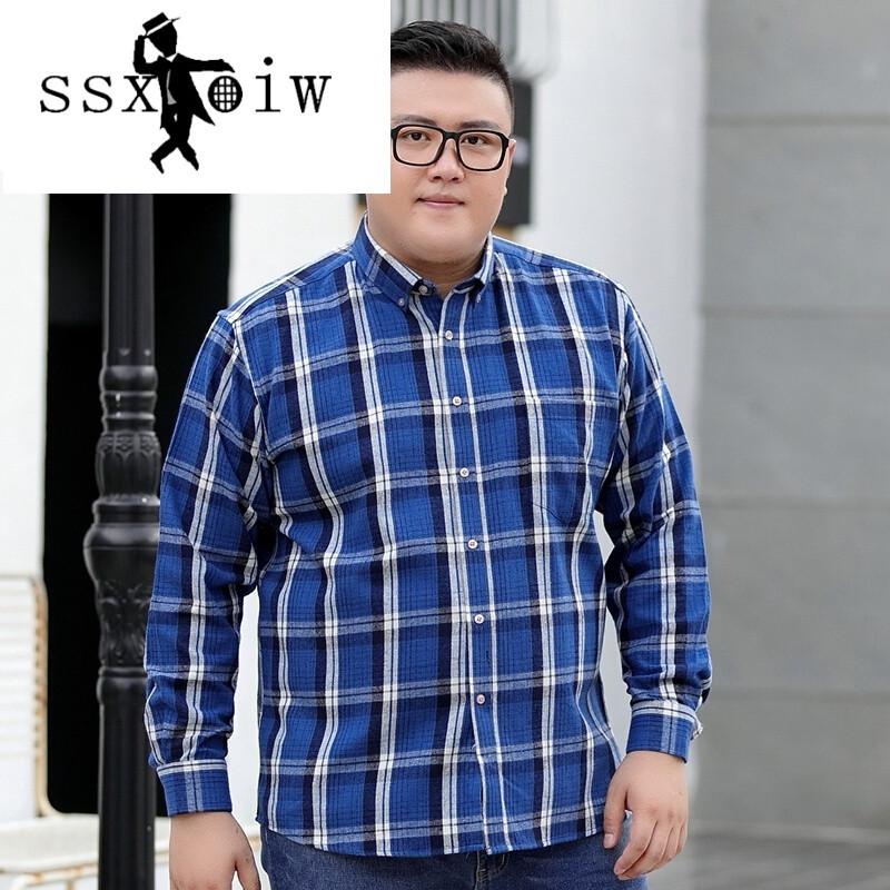 加肥加大格子衬衫男