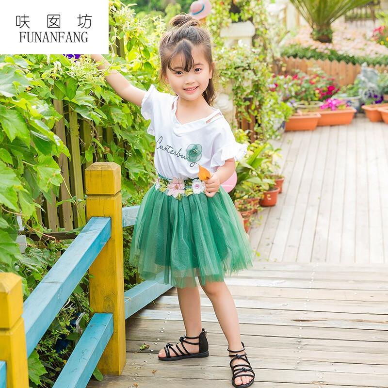 呋囡坊女童套裙夏装套装2017新款夏季公主裙连衣裙可爱纱裙儿童装两件