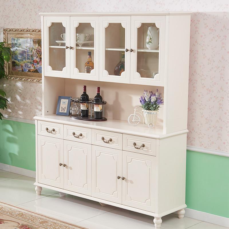 地中海实木餐边柜欧式储物柜客厅烤漆美式乡村酒柜田园茶水柜碗柜