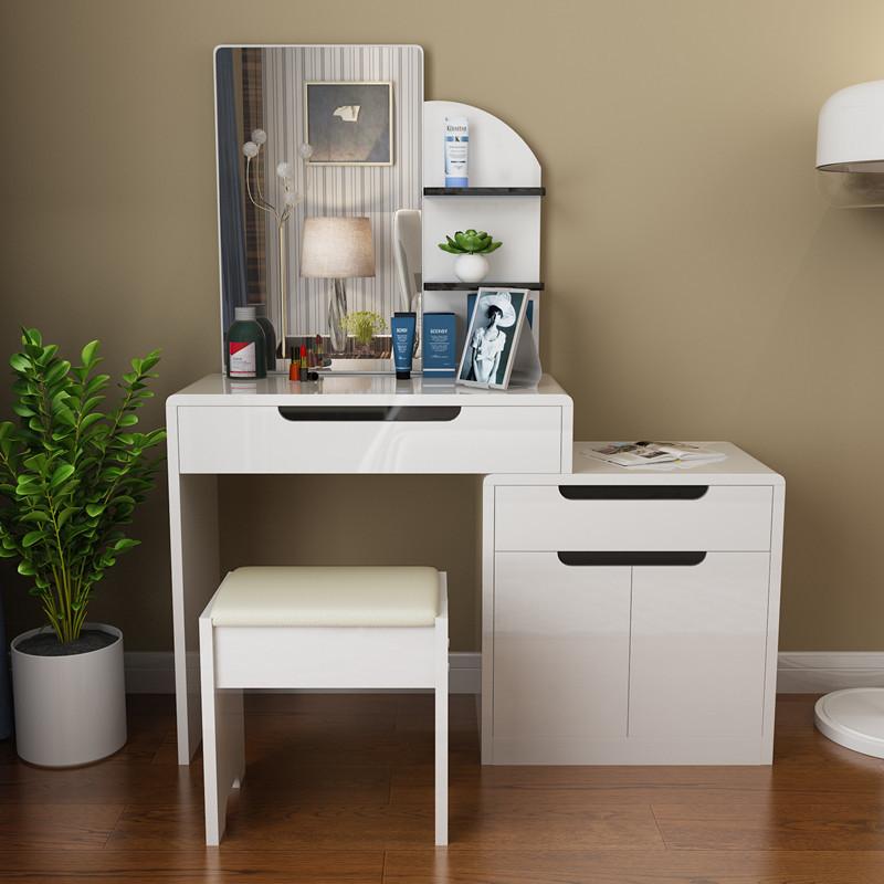 简约现代梳妆台 卧室多功能小户型带凳白色化妆台化妆