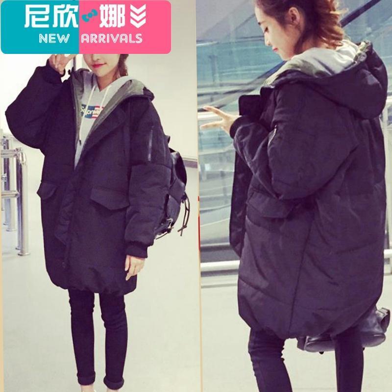 新品女装软妹冬季可爱外套棉服女韩版宽松面包服女bf中长款学生风棉衣