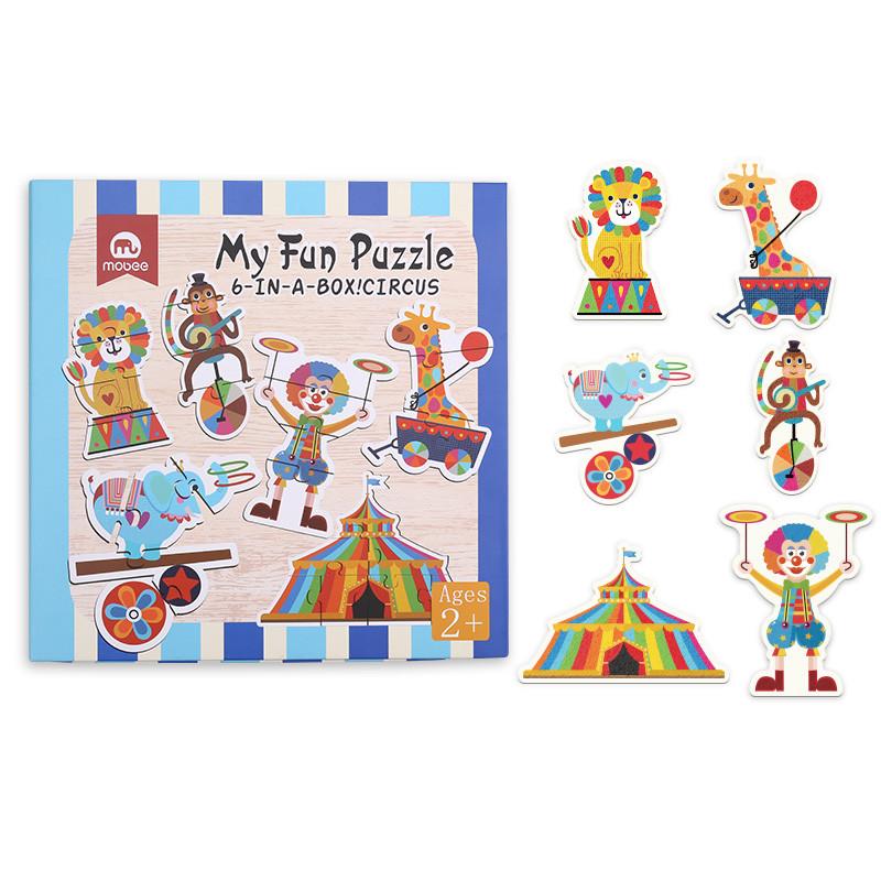 mobee 莫贝幼儿园早教拼图宝宝益智大块动物交通马戏团拼图2岁3-6岁以