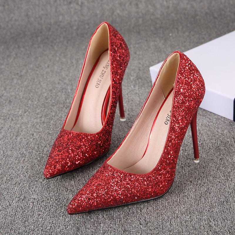 银色尖头高跟鞋细跟夜店性感水晶渐变亮片金色伴娘新娘婚鞋单鞋女