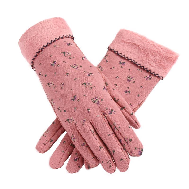 冬季手套女士加绒加厚保暖春秋季可爱韩版骑车秋冬天防滑触屏纯棉