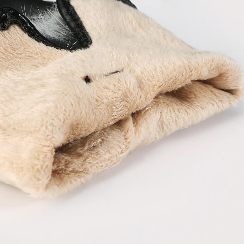 手套女秋冬季 保暖触屏手套pu皮手套可爱韩版兔毛球加