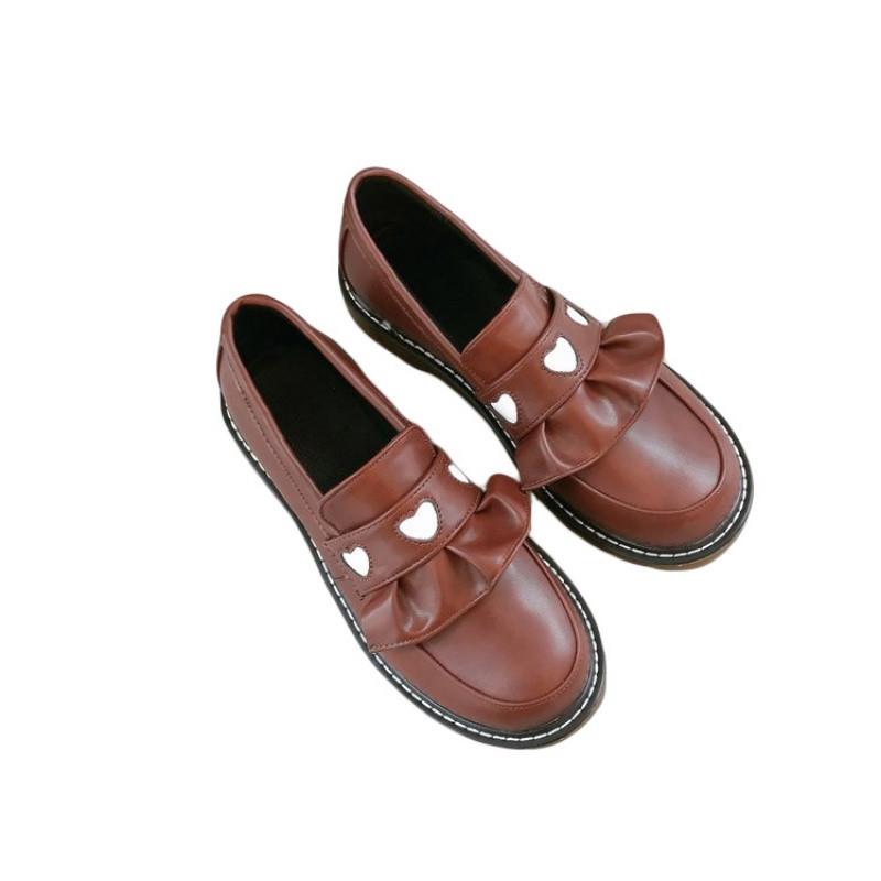 2017新款日系学院风厚底女鞋可爱圆头娃娃鞋爱心套脚平底小皮鞋女